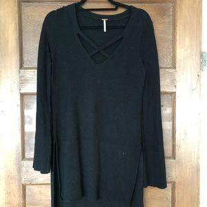 Free People crisscross sweater tunic in black